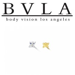 "BVLA 14kt & 18kt Gold ""Butterfly"" Two 1mm Gems Nostril Screw Nose Bone Ring Stud Nail 20g 18g 16g Body Vision Los Angeles"