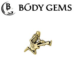 "Body Gems 14kt Gold Skeleguitar Threadless End 25g Pin (will fit 18g, 16g, 14g Universal Threadless Posts) ""Press-fit"""