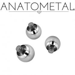 Anatometal Surgical Steel Threaded Ball End 00 Gauge 00g