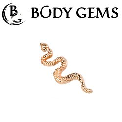 "Body Gems 14kt Gold Snake Threadless End 25g Pin (will fit 18g, 16g, 14g Universal Threadless Posts) ""Press-fit"""