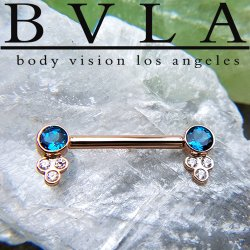 BVLA 14kt Gold Straight Barbell Forward Facing Round Gems in Open Back Bezels with Tri Bezel Gem Clusters 12 Gauge 12g Body Vision Los Angeles