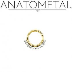 Anatometal 18kt Gold Vaughn Seam Ring With Silver Bead Overlay 18 Gauge 18g