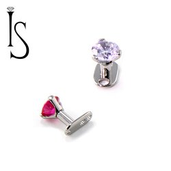 Industrial Strength Titanium Surface Micro Dermal Anchor Post with 3 Prong Gem 16 Gauge 14 Gauge 16g 14g