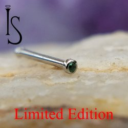 "Industrial Strength Stainless Surgical Steel Nose Bone 1mm Bezel-set Green Alpinite 5/16"" 20 Gauge 20g Limited Stock"