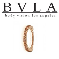 "BVLA 14kt Gold ""Telesto"" 1mm Gems Daith Septum Clicker Nose Ring 16 Gauge 16g Body Vision Los Angeles"