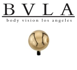 "BVLA 14kt & 18kt Gold ""7/32"" Bead"" Threaded Ball End 8 10 12 14 Gauge 8g 10g 12g 14g Body Vision Los Angeles"