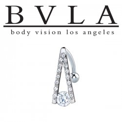 "BVLA 14kt Gold ""A-Line"" CZ Studded Navel Curved Barbell 14 Gauge 14g Body Vision Los Angeles"