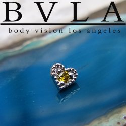 "BVLA 14kt & 18kt Gold ""Heart Harlequin 4.5mm"" Threaded End 18g 16g 14g 12g Body Vision Los Angeles"