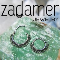 Zadamer Titanium Simple Clicker with Chain Septum Daith Helix Hinged Ring 16 Gauge 14 Gauge 16g 14g