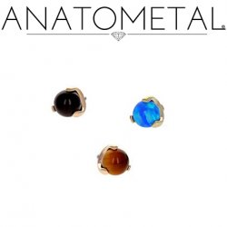 Anatometal 18kt Gold Threaded 3-Prong Claw-set 3mm Gem End 18g 16g 14g 12g