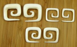 Organic Water Buffalo Bone Square Spirals 10g-0g (Pair) 2.5mm-8mm
