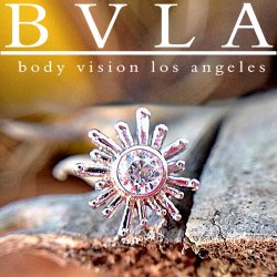 "BVLA 14kt & 18kt Gold ""Sun Ray"" 4mm Threadless End 1.5mm Gem 18g 16g 14g ""Press-fit"""