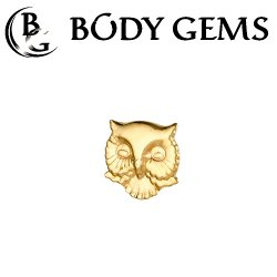 "Body Gems 14kt Gold Owl Head Threadless End 25g Pin (will fit 18g, 16g, 14g Universal Threadless Posts) ""Press-fit"""