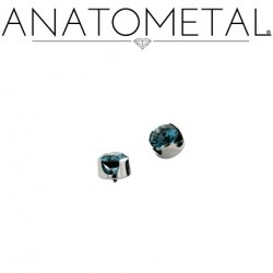 Anatometal Titanium Threaded 1.5mm Prong-set Faceted Gem End 18 Gauge 16 Gauge 18g 16g