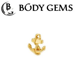 "Body Gems 14kt Gold ""Anchor"" Threaded End Dermal Top 18 Gauge 16 Gauge 14 Gauge 12 Gauge 18g 16g 14g 12g"