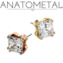 Anatometal 18kt Gold 6mm Prong-set Princess-cut Gem Threadless End 18g 16g 14g (25g Pin Universal) Threadless Posts Press-fit