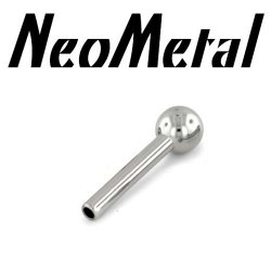 "16 Gauge 16g NeoMetal Threadless Titanium Straight Barbell Shaft 1/8"" Fixed Ball End (Accepts Only 22g Pin Threadless Ends) ""Press-fit"""