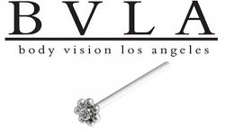 "BVLA 14kt & 18kt Gold ""7 Bead Flower with 1.25mm Gem"" Nostril Screw Nose Bone Nail Ring Stud 20g 18g 16g Body Vision Los Angeles"