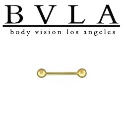 "BVLA 14kt Gold Barbell with 1/8"" Ball Ends 16 Gauge 16g Body Vision Los Angeles"