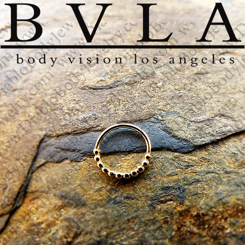 "BVLA 14kt Gold ""Oaktier"" Septum Nose Daith Ring 20 Gauge 20g Body Vision Los Angeles - Click Image to Close"