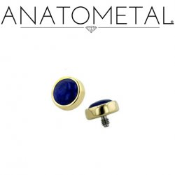 Anatometal 18kt Gold Threaded 2.0mm Bezel-set Cabochon Gem End 18g 16g 14g 12g