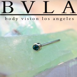 "BVLA 14kt & 18kt Gold ""2mm Bezel Gem"" Nostril Screw Nose Bone Ring Stud Nail 20g 18g Body Vision Los Angeles"