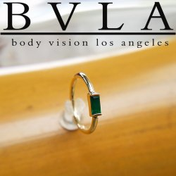 "BVLA 14kt & 18kt Gold ""Baguette Bar"" Nose Nostril Septum Fixed Bead Seam Ring 16g Body Vision Los Angeles"