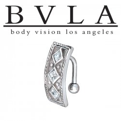BVLA 14kt Gold Byzantine CZ Navel Curved Barbell 14 Gauge 14g Body Vision Los Angeles