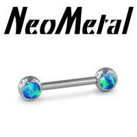 "14 Gauge 14g NeoMetal Threadless Titanium Side-set Forward Facing 4mm Cabochon Gem Barbell ""Press-fit"""