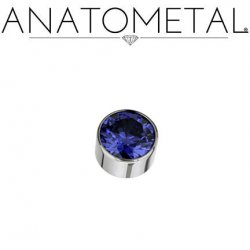 Anatometal Titanium Threaded 6mm Bezel-set Faceted Gem End 18g 16g 14g 12g 10g 8g