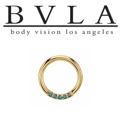"BVLA 14kt Gold ""Blaze 5"" with 1mm Gems Nose Nostril Septum Daith Seam Ring 18 Gauge 16 Gauge 18g 16g Body Vision Los Angeles"