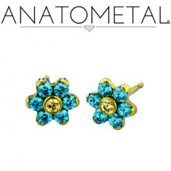 Anatometal Titanium 7mm Flower Earrings (Pair)