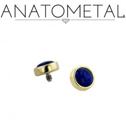 Anatometal 18kt Gold Threaded 2.5mm Bezel-set Cabochon Gem End 18g 16g 14g 12g