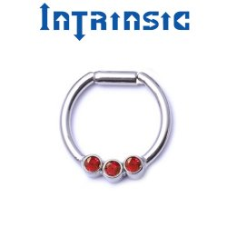 Intrinsic Body Titanium 3 Gem Septum Clicker 2mm Gems Nose Ring Daith Ring 18 Gauge 16 Gauge 14 Gauge 18g 16g 14g