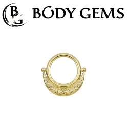 Body Gems 14kt Gold Clicker with Crescent Moon Septum Daith Ring 16 Gauge 14 Gauge 16g 14g