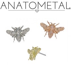 "Anatometal 18Kt Gold ""Bee"" Threadless End 25g Pin (will fit 18g, 16g, 14g Universal Threadless Posts) Press-fit"