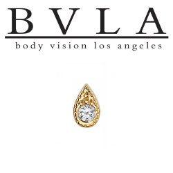 "BVLA 14kt & 18kt Gold ""5mm Pave Teardrop"" Gem Threadless End 18g 16g 14g Body Vision Los Angeles"