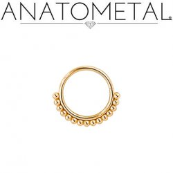 Anatometal 18kt Gold Vaughn Seam Ring With Gold Bead Overlay 18 Gauge 18g