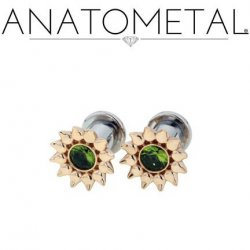 Anatometal Gold Sinflower Surgical Steel Plug Ear Gauge with threaded flatback 6 Gauge 4 Gauge 2 Gauge