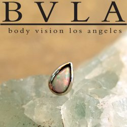 "BVLA 14kt & 18kt Gold ""Pear Cabochon Bezel"" 6x4mm Threaded End 18g 16g 14g 12g Body Vision Los Angeles"