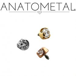Anatometal 18Kt Gold Threaded Prong-Set Diamond End 2mm 2.5mm 3mm 18 Gauge 16 Gauge 14 Gauge 12 Gauge 18g 16g 14g 12g