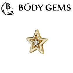 "Body Gems 14kt Gold ""Shining Star"" Threaded End Dermal Top 18 Gauge 16 Gauge 14 Gauge 12 Gauge 18g 16g 14g 12g"