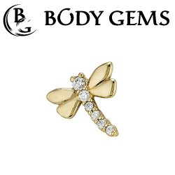 "Body Gems 14kt Gold ""Sparkly Dragonfly"" Threaded End Dermal Top 18 Gauge 16 Gauge 14 Gauge 12 Gauge 18g 16g 14g 12g"