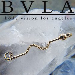 "BVLA 14kt & 18kt Gold ""Serpent"" Industrial Barbell 16 gauge 16g Body Vision Los Angeles"