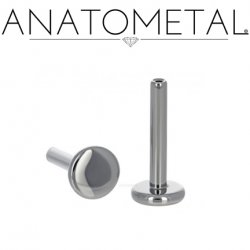 "Anatometal Titanium Threadless Universal Flatback Disk Labret Post Stud Lip Ring 18 Gauge 18g (Accepts Only 25g Pin Threadless Ends) ""Press-fit"""