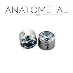"Anatometal Titanium 3/16"" Captive Faceted Bezel-set Gem 14 Gauge 14g"