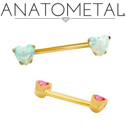 Anatometal 18kt Gold Side-set Heart Gem Barbell 14 Gauge 14g