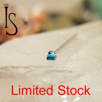 Industrial Strength Titanium Limited Stock Nostril Screw Nose Ring 2mm 3-Prong Turquoise 20 Gauge 20g