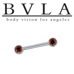 BVLA 14kt Gold Straight Barbell Forward Facing Round Gems in Open Back Bezels 14 Gauge 14g Body Vision Los Angeles