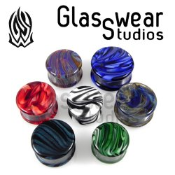 Glasswear Pyrex Glass Borostone Double Flare Round Plugs Pair 0g - 2""
